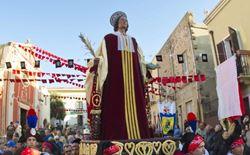 la statua di sant antioco in processione