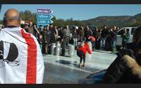 protesta del latte pastori galluresi bloccano traffico sulla olbia nuoro