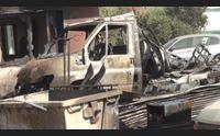 san gavino paura per un incendio in un autofficina danni ingenti